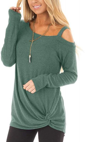 767808c4c798 Autumn Women's Slim fit Outwear Long Sleeve Casual Style Loose Solid Color  Irregular Neckline T-Shirt Kink Design Top | Souq - UAE