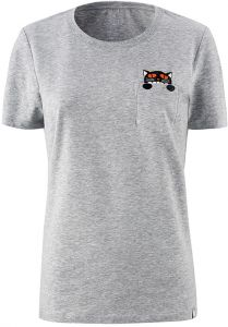 Xiaomi Women Athleisure Mitu Printed Cat Pocket Short Sleeve Round Neck  T-Shirt Size M - Grey eedac4de4754e