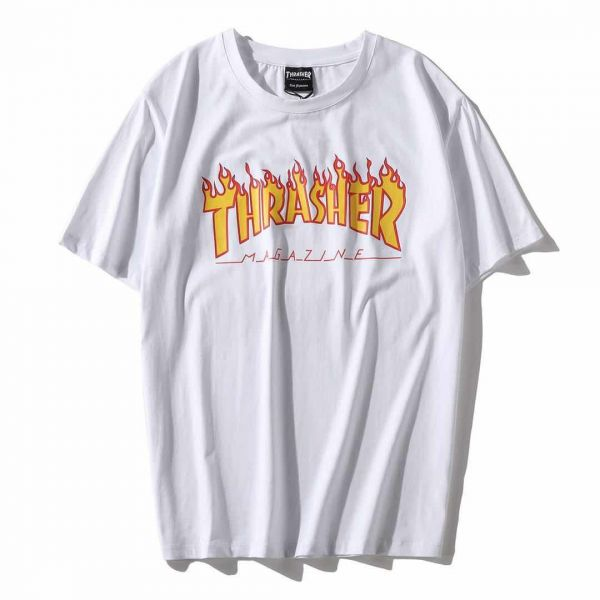 705294a77b8a Thrasher Flame Classical White T-shirt Fashion Tee Unisex Short Sleeve For  Men And Women