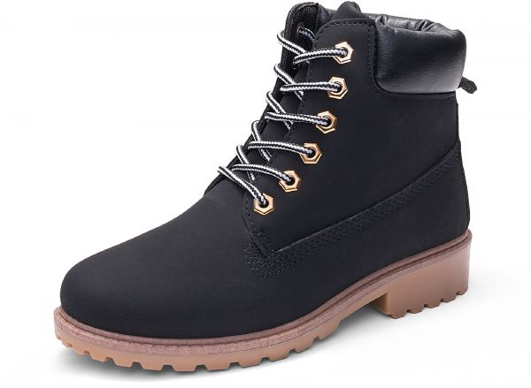 PU leather bootsfemale flat bottom large size Women s Martin Boots Solid  Color Lacing Elegant Boots  ebc1bc2bfb