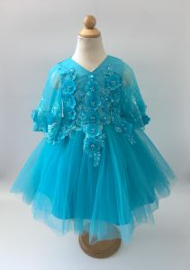 e10079b8e Cuts & Fits Blue Embellished Party Gown, Fancy Wear Frock, Flower Girl  Dress with Pearls and Beading