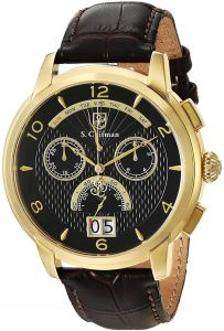 9a4a66be4 S. Coifman SC0178 Black Dial Chronograph Brown Leather Band Swiss-Made Men's  Watch