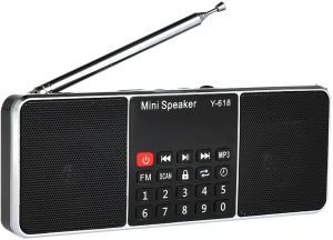 Y-618 Mini FM Radio Digital Portable Dual 3W Stereo Speaker MP3 Audio Player Fidelity Sound w/ 2 Inch Display Screen Support USB Drive TF Card AUX-IN ...