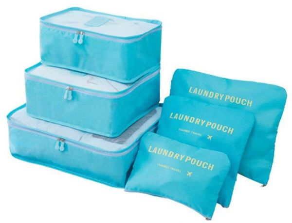 6 Set Waterproof Packing Cubes, Backpack Storage Bags, Travel Luggage Clothes Compression Organizer (Blue)
