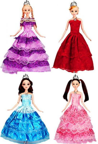 4PCS Wedding Dress Princess Evening Party Ball Long Gown Skirt Bridal Veil  Clothes For Barbie Doll Accessories xMas Gift Toy  a0ec0a2f64d9