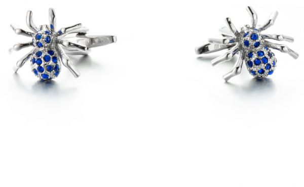Business French Cufflinks Blue Crystal Spider Cuffs Wedding Party