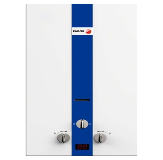 Fagor FMH-10 NGW Gas Water Heater, 10 Liters- White Blue