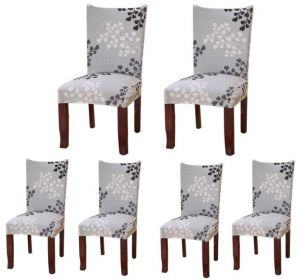 Set Of 6plant Series Spandex Dining Chair Slipcovers Removable Universal Stretch Protective Covers For Room Hotel Banquet Ceremony Grey