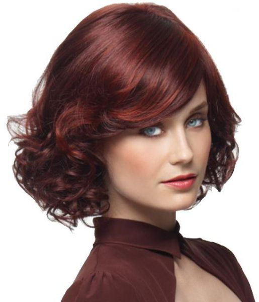 Retro women s short wig curly short red hairpiece wigs with sloping Bang  36cm  58c2fa766008