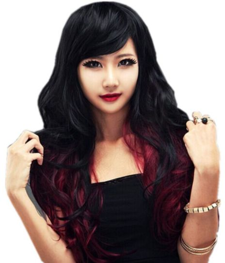 Fashion women s wig women s anime cosplay wig black gradient wine ... 37746cdbf8