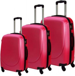 23ea6e65754a CURVE Series 3 Pc Trolley Hard Luggage Bag Set - Rose Pink