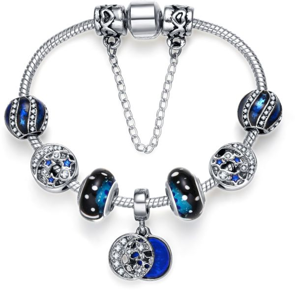 cce81abe2 Pandora Style 925 Silver Plated Romantic Blue Night Sky Fashion Charm  Bracelet with CZ Moon Stars Hearts, Gift for Women and Teen Girls 18cm |  KSA | Souq