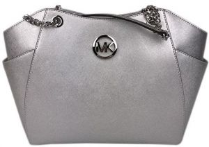 Michael Kors Women s Jet Set Travel Large Chain Shoulder Tote Bag - Silver 778707e696fee