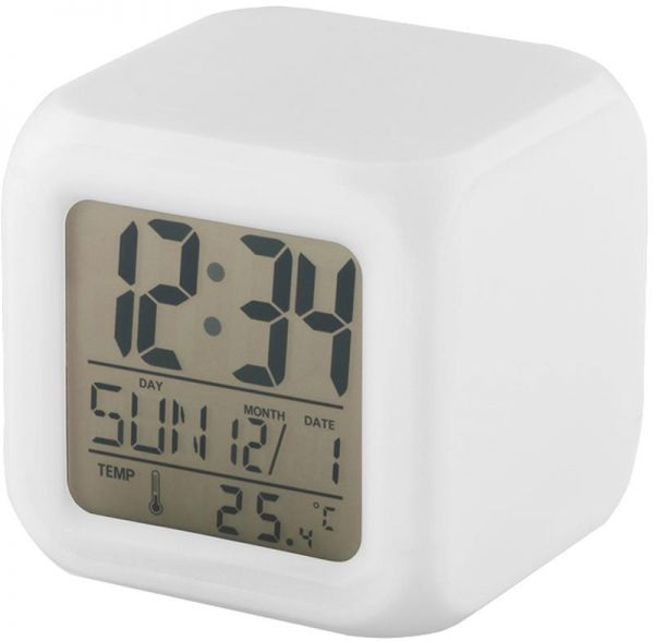 7 Led Colors Change Glow Digital Alarm Clock Desktop Night Light Cube Lcd  Clock with Thermometer