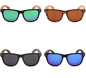 b3810ff09a0 Fashion Wayfarer Natural Wooden Sunglasses with Polarized Lenses for Men  and Women