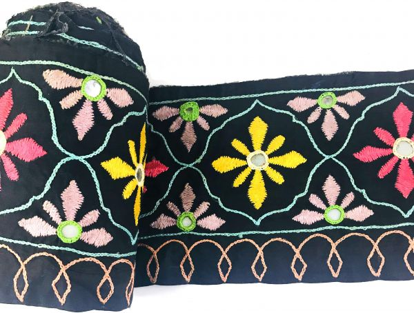 Handmade Broad Black Embroidered Cotton Lace 5 Inch 85 Yards
