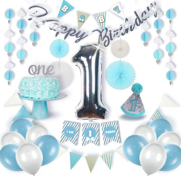 1st Birthday Boy Decorations Blue White Silver Grey First Set Complete Kit