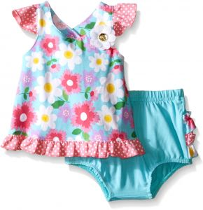 32b9d0241f642 Nannette Little Girls Knit Floral Top and Diaper Cover Set