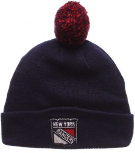 f5f1fc7cc Zephyr NHL New York Rangers Men's Pom Beanie, One Size, Navy