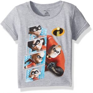 29db4a82e2c8 Disney Toddler Kids The Incredibles 2 Character Panel Short Sleeve T-Shirt,  Heather Grey, 4T