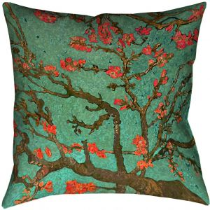 ArtVerse Vincent Van Gogh Almond Blossom in Green and Red x (Pillow Cover  Only) Pillow-Cotton Twill Double Sided Print with Concealed Zipper 67ff942d4b6d