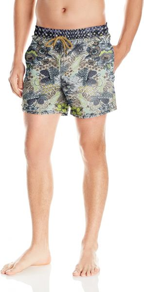 1910142b57 Maaji Men's Printed Elastic Waist Mid Length Swimsuit Trunks 5 ...