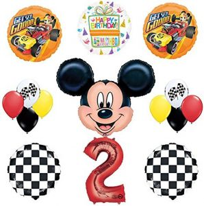 Mickey Mouse 2nd Birthday Party Supplies And Roadster Balloon Bouquet Decorations