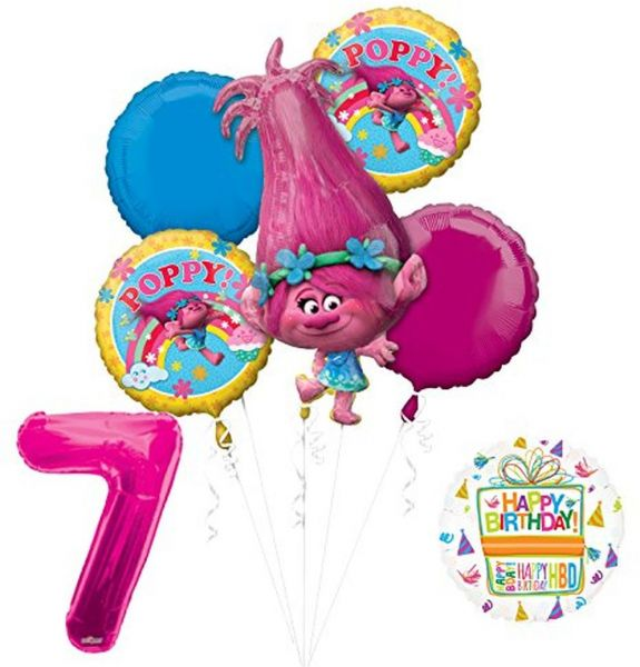Mayflower Products TROLLS POPPY 7th Birthday Party Supplies And Balloon Bouquet Decorations