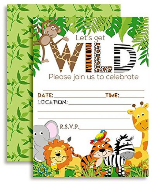 Lets Get Wild Jungle Animal Party Invitations 20 5x7 Fill In