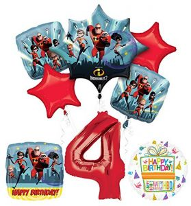 Incredibles 2 Party Supplies 4th Birthday Balloon Bouquet Decorations