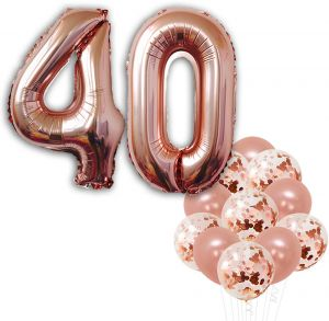 Rose Gold 40th Birthday Decorations Pack Of 22