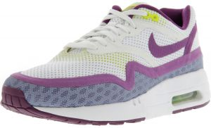 online store f9cec e4242 Nike Women s Air Max 1 Br White   Bright Grape - Venom Green Volt Shock  Ankle-High Fashion Sneaker 9.5M