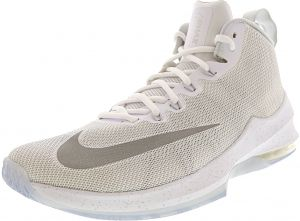 94beb6dbe784 Nike Men s Air Max Infuriate Mid Premium White   Metallic Silver Mid-Top  Mesh Basketball Shoe - 9.5M