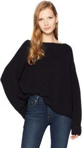 ea242b516d2 French Connection Women's Millie Mozart Solid Knits Cotton Sweaters, Black  Knit, M