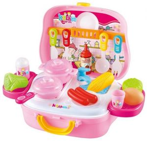 b0629b3f67808 Kids Simulation Baby Pretend Play Kitchen Play Toys Set Role Play Cosplay  Cooking Cart Trolley Tools Set Case Box Doll