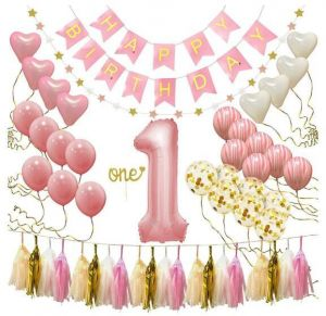First Birthday Decorations For Girl 1st Baby Number 1 Balloon One Cake Topper Happy Banner Star Garland Marble Pink Gold Confetti