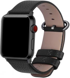 a386677ed Fullmosa Compatible Apple Watch Band 44mm 42mm 40mm 38mm,Genuine Leather  Band Compatible iWatch Band, 44mm 42mm Black + Gunmetal Buckle