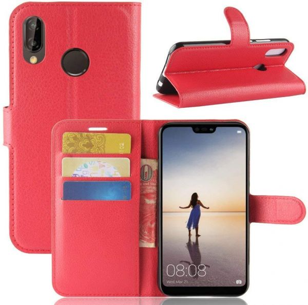 XIAOMI MI REDMI S2 Case PU Leather Case Wallet Flip Cover Slim Phone Case Card Slots Viewing Stand Shock Absorbing Protective Case RED | Souq - UAE