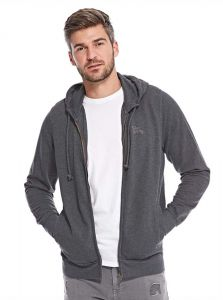 Tokyo Laundry Embroidered Zip Up Hoodie for Men - Blackened Pearl 848f912856de