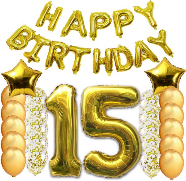 40pcs 15th Happy Birthday Letter Party Balloons Banner Gold Decoration Supplies Big Foil Mylar Thick Latex For