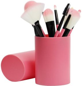 STELLAIRE CHERN 12pcs Synthetic Makeup Brushes Travel Set With Holder  Foundation Powder Contour Blush Eye Cosmetic Brush Sets In Case - Pink 7c7b0a68d5187
