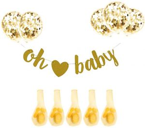 f738f38e0 Baby Shower Decorations Neutral Decor Banner (Oh baby) 7PC Balloons  w/Ribbon [Gold, Confetti] Kit Set | Hang on Wall | Glitter Unisex Pregnancy  Announcement ...