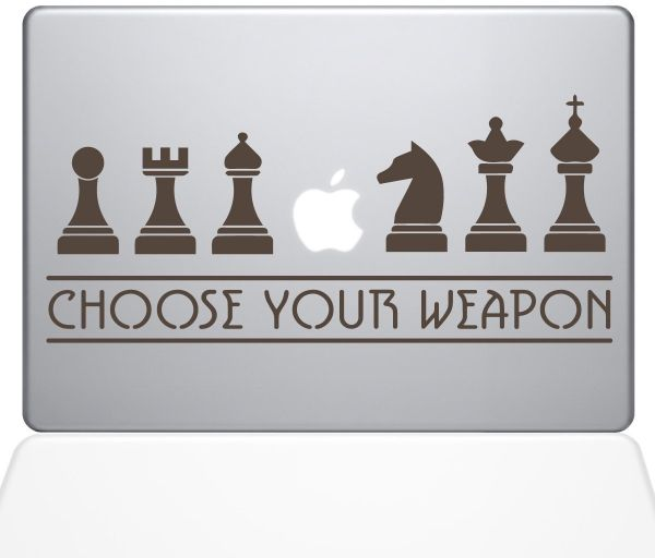 "The Decal Guru Chess Weapons Macbook Decal Vinyl Sticker  - 15"" Macbook Pro ‫(2016 & newer) - Brown ‫(1277-MAC-15X-BRO)"