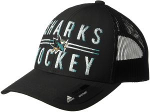 9ac4a625366 adidas NHL San Jose Sharks Trucker with Hard Mesh Back Hat