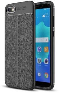 Huawei Y5 Prime 2018 / Honor 7S case rubber leather pattern litchi Soft TPU Shockproof cover - Black