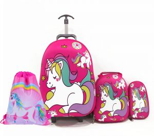 8cf1eb0d8e Kids School bag trolley Rolling travel bag unicorn with drawstring Bag set  of 4 17inch 3-12years olds