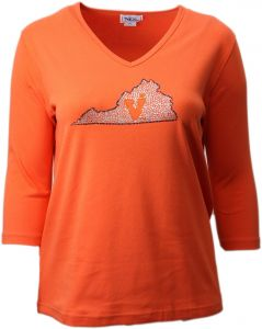 e467150e9d2 Nitro USA NCAA Virginia Cavaliers Women s Collegiate with State Missy Fit  3 4 Sleeve V-Neck Rhinestone Bling Top