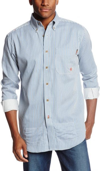 Ariat Men's Flame Resistant Work Shirt, Bold Blue, Large- Tall
