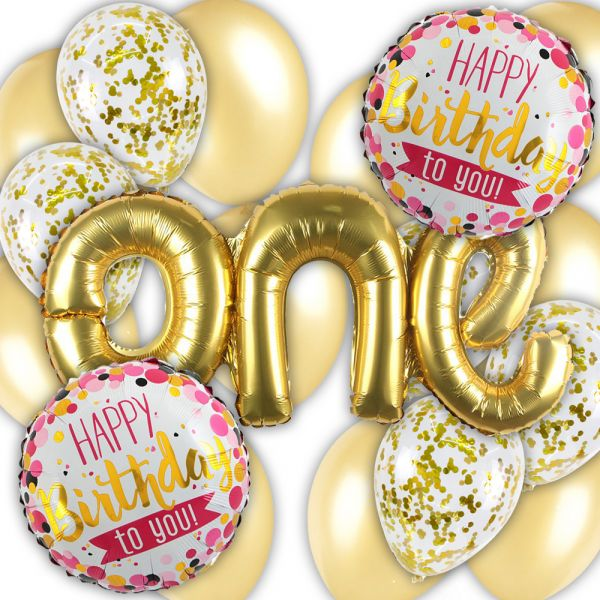 1st Birthday Decorations First Party Supplies Gold Latex Balloon Confetti Round Happy Balloons For
