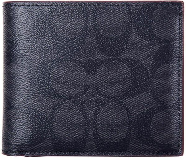 549c60032d2b Coach F25519 N3A Signature PVC Compact ID Men s Wallet -Black Oxblood